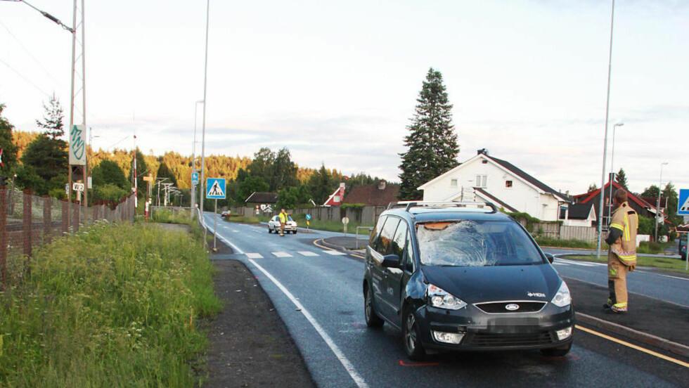 DØDSULYKKE: En voksen mann ble påkjørt og drept i Kongsberg onsdag kveld. Foto: Ole Christian Nordby.