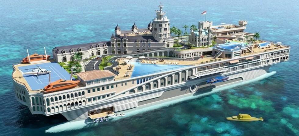 HØY PRIS: Ifølge Daily Mail vil «Streets Of Monaco» bli verdens dyreste privateide båt. Foto: YACHT ISLAND DESIGN