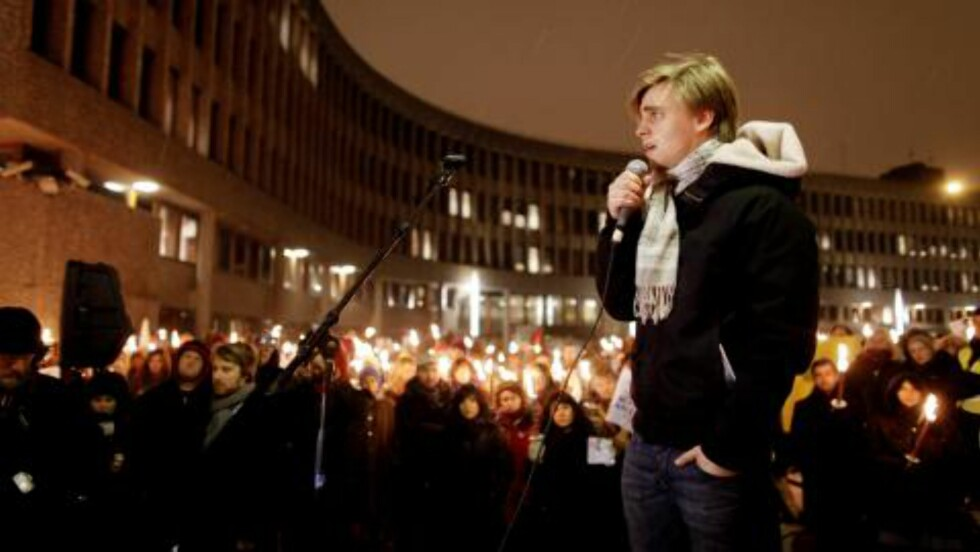 <strong>Talte for kjærsten:</strong>  Eivind Trædal holdt appell i kveld. Foto: Scanpix