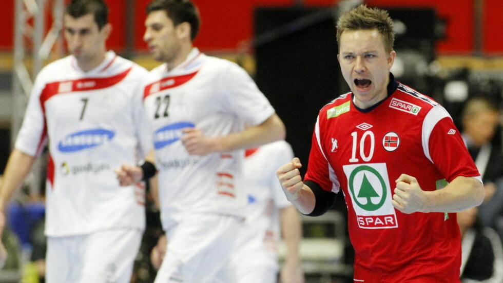VIKTIG: Håvard Tvedten var svært god da Norge i kveld revansjerte seg og slo Østerrike. Foto: HÅKON MOSVOLD LARSEN/SCANPIX