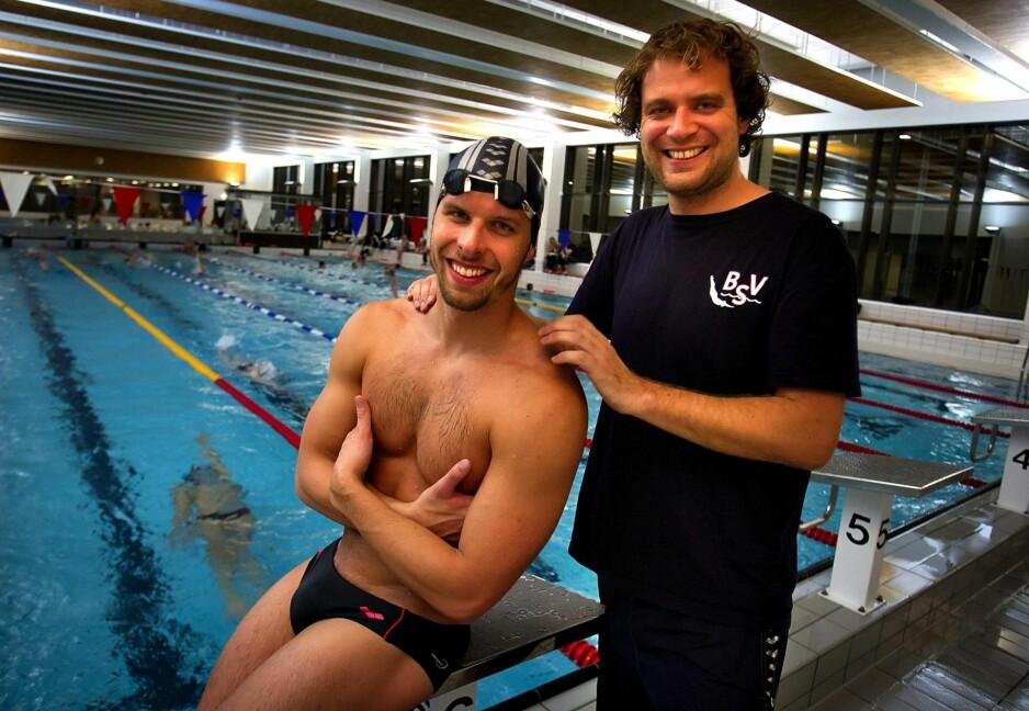 DRØMMETEAMET: De var svømmesportens dream team. For første gang siden Alexander Dale Oens død, er trener Stig Leganger-Hansen tilbake. Foto: NTB Scanpix