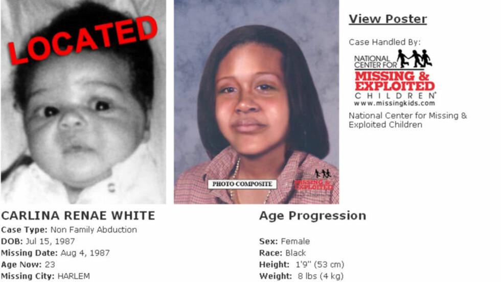 FANT SEG SELV: Denne siden for bortførte barn, besøkte Carlina White. Hun skjønte at det var seg selv hun så, og ringte opp sin biologiske mor. Nå er hun gjenforent med sine foreldre etter 23 år. Faksimile: missingkids.com