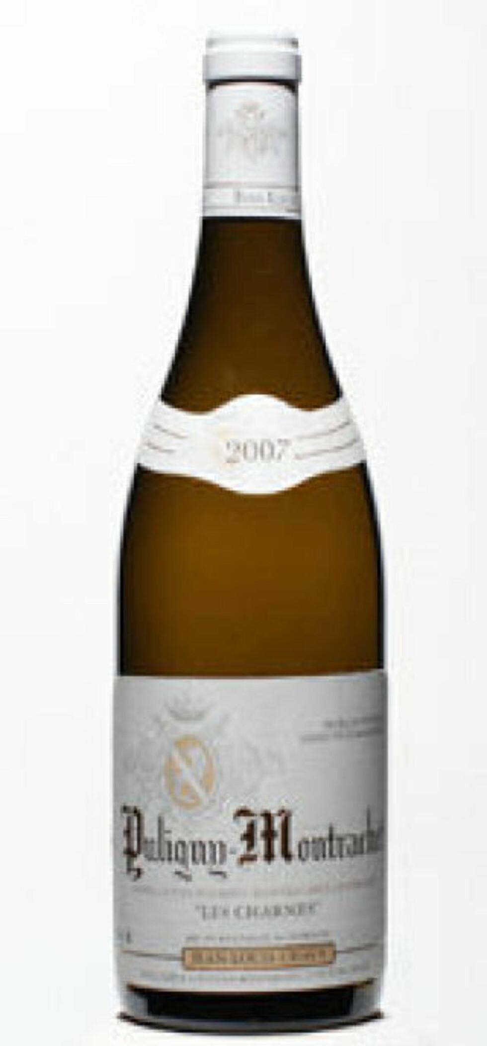 GOD TIL HUMMER: Puligny Montrachet Charmes 2007 fra Burgund får 85 poeng og femmer på terningen.
