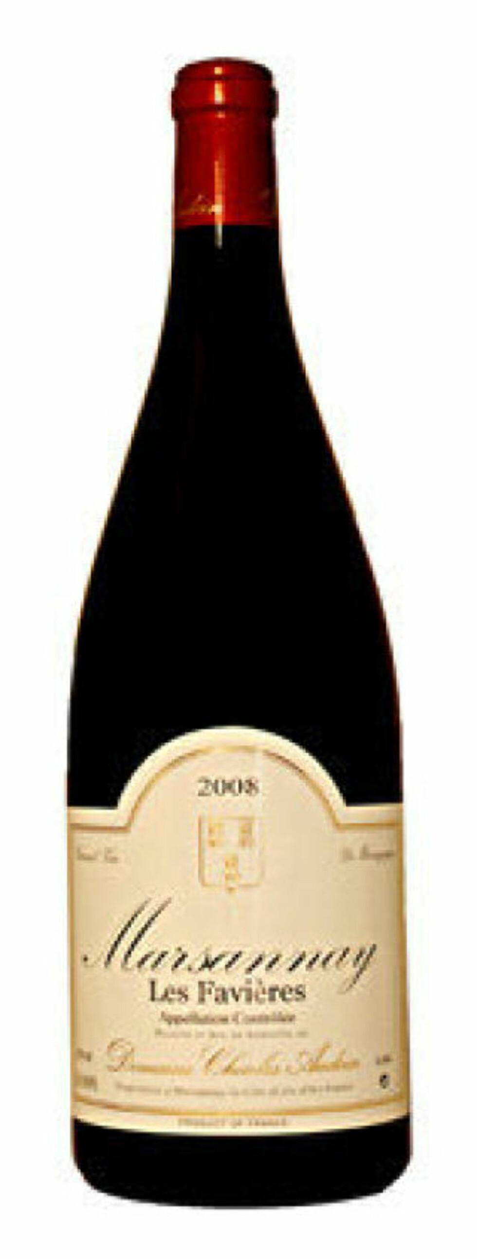 TOPPBURGUNDER: Marsannay les Favières 2008, dom Audoin. Magnum til gunstig pris får en sekser.