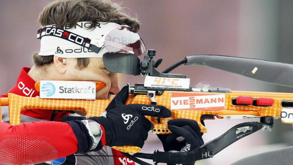 BEST AV DE NORSKE: Ole Einar Bjørndalen var tilbake i ettermiddag, og viste en viss framgang. Foto: Heiko Junge / Scanpix
