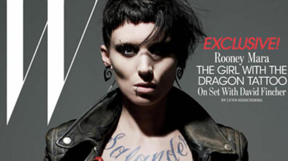 USA-UTGAVEN: Rooney Mara spiller Lisbeth Salander i Hollywood-produksjonen The Girl With The Dragon Tattoo, regissert av anerkjente David Fincher. Faksimile: W Magazine
