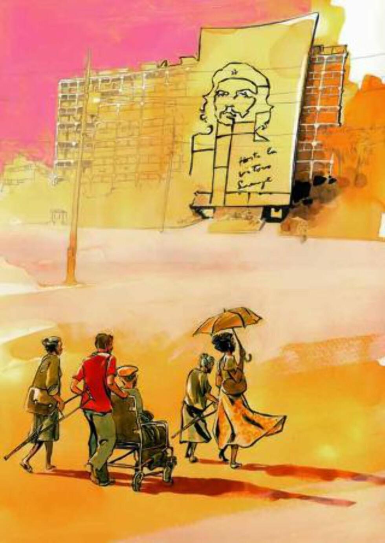 CUBA: Reinhard Kleist er en av de politiske serieskaperne som stilles ut på utstillingen «Serieglobus - Tegneseriens skråblikk på verdens konflikter», som åpner på KinoKino i Sandnes i morgen. Tegning: REINHARD KLEIST