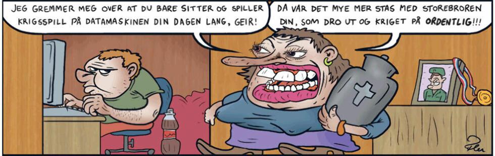 POLITISK: Dagens «Fagprat» av Flu Hartberg kan sies å være politisk. Men er det unntaket som bekrefter regelen om at norske tegneserier er for lite opptatt av det som skjer i samfunnet, slik Tor Ærlig påstår? Tegning: FLU HARTBERG