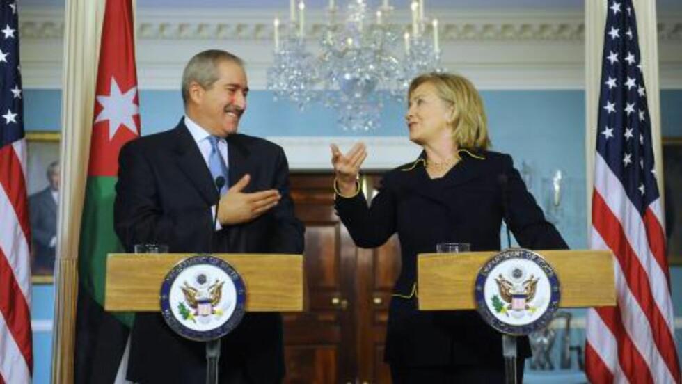 - REFORMER:  I dag sa USAs utenriksminister Hillary Clinton at Egypts regjering bør lytte til folket. Her fra pressekonferansen i Det Hvite Hus sammen Jordans utenriksminister Nasser Judeh. FOTO: MICHAEL REYNOLDS, EPA/SCANPIX.