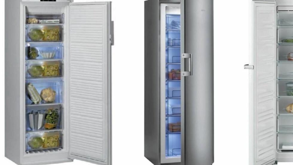BEST I TEST: Forbrukerrådet har testet fryseskap. De tre beste ble Whirlpool (t.v), Gorenje og Miele (t.h.). Foto: Produsentene