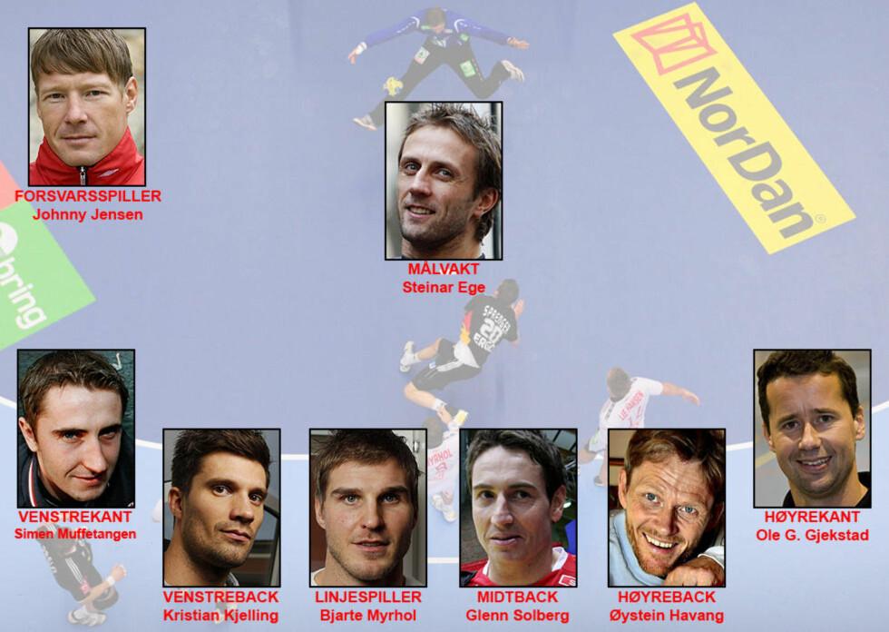 <strong>TIDENES LANDSLAG:</strong> Her er de sju spillerne - pluss en forsvarsspiller - som Dagbladets jury har plukket ut på tidenes landslag. Foto: AFP, SCANPIX og DAGBLADET
