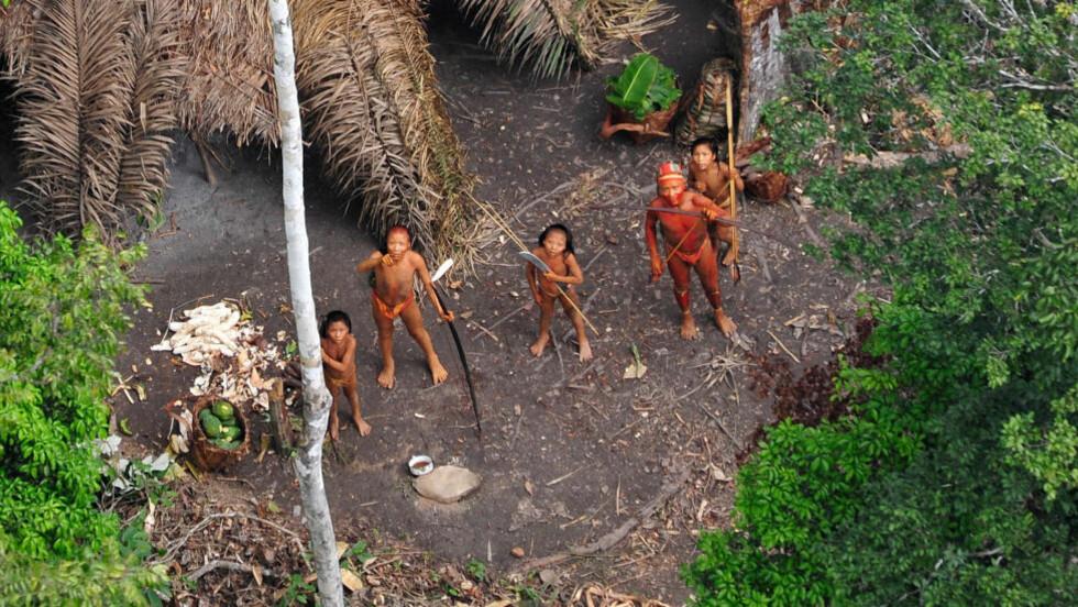 SJELDNE BILDER. :  Et fly fotograferte indianerne som lever i total isolasjon ved grenseområdet til Peru i Amazonas. Foto: AFP PHOTO/Gleison Miranda/FUNAI/Scanpix