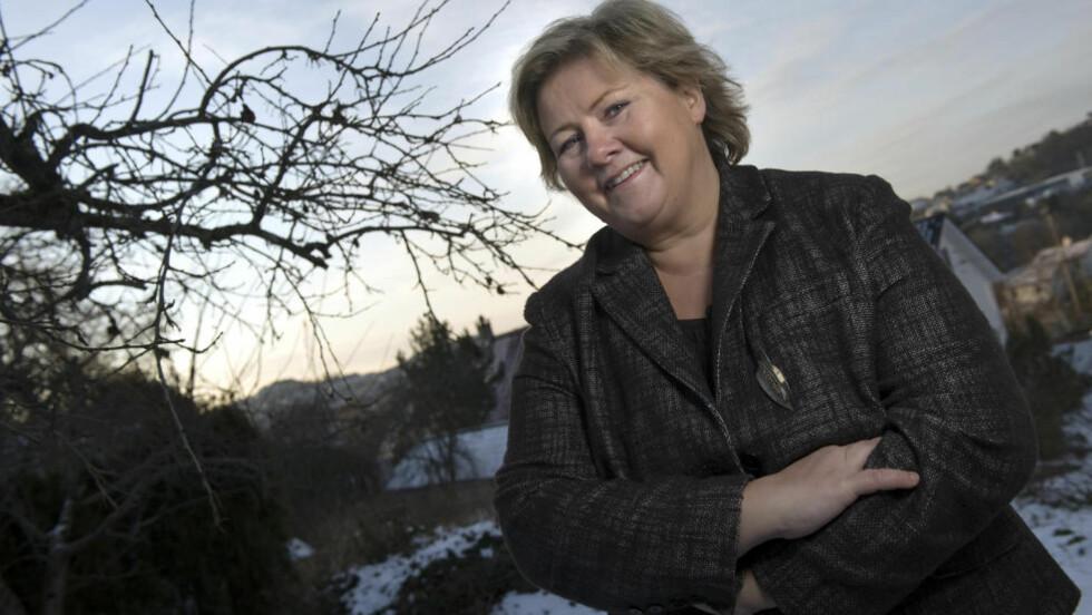 STRID OM VELFERDSMODELLEN:  Erna Solberg mener det er uryddig å framstille den nordiske velferdsmodellen som en sosialdemokratisk oppfinnelsen.   Foto: Tor Erik H. Mathiesen