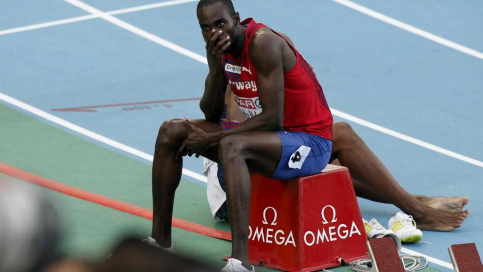 NEDTUR: Jaysuma Saidy Ndure var svært skuffet etter 5. plass på 200 m-finalen under EM i friidrett i Barcelona i fjor. Foto: Cornelius Poppe / Scanpix .