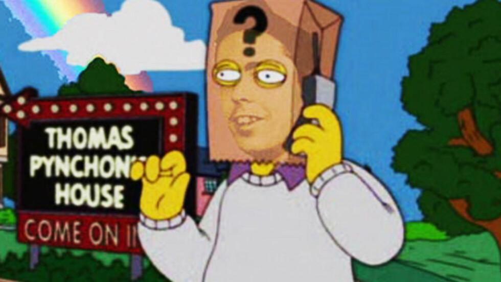 MEDIESKY: Thomas Pynchon har ikke latt seg fotografere på 50 år. Bare ved en eneste anledning har han latt sin stemme klinge offentlig, nemlig i et par episoder av «The Simpsons», der han opptrer med en papirpose over hodet.