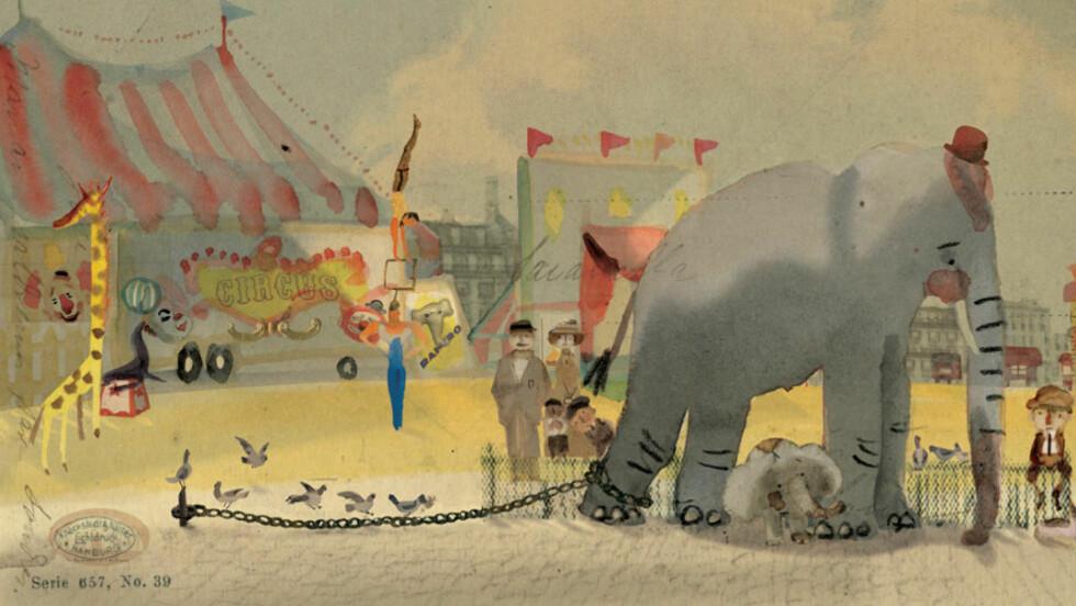 KUNST: Hver side i bildeboka «Elefanten i lenker» er et lite kunstverk, mener anmelderen. Illustrasjon: FRA BOKA