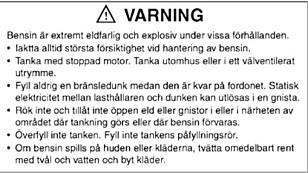 ADVARSEL: Denne advarselen om å tanke nær åpen ild skal nå oversettes til norsk og følge med Forsvarets ATV-er.