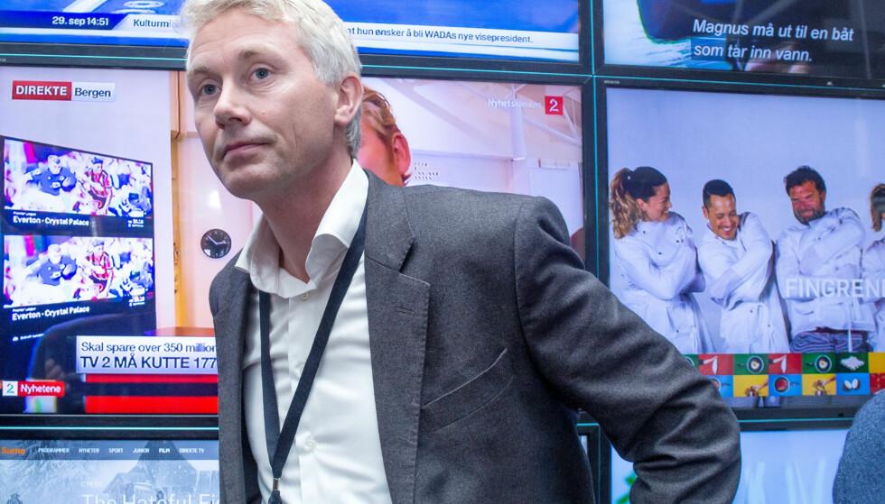TØFF DAG: Administrerende direktør i TV 2, Olav T. Sandnes måtte i dag informere om massive endringer i organisasjonen. Over 170 mennesker mister jobben. Foto: Eivind Senneset / Dagbladet