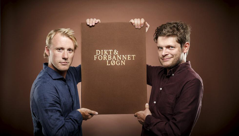 """DIKTPROGRAM: Programlederne for """"Dikt & forbannet løgn"""", Torbjørn Harr og Hans Olav Brenner. Foto: NRK"""