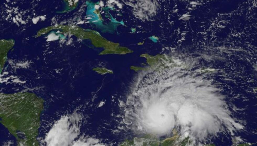 MØT «MATTHEW»: Det er fare for at mange menneskeliv kan gå tapt når orkanen «Matthew» når land i Karibien mandag norsk tid. Foto: NASA / NTB Scanpix
