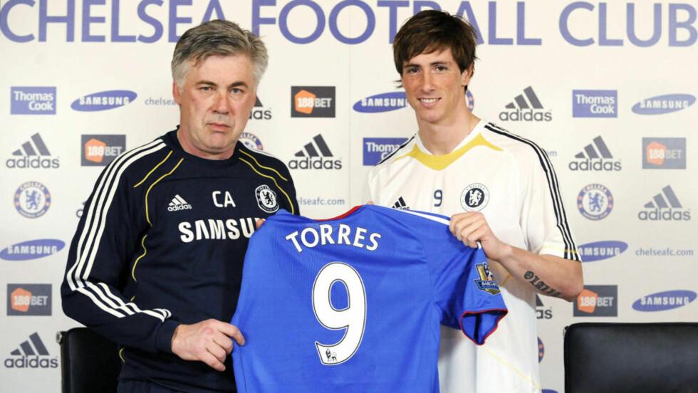 I CHELSEA Carlo Ancellotti presenterte Fernando Torres tidligere i uka. Foto: Reuters / Scanpix