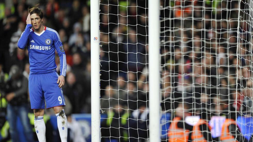 TUNG DEBUT: Fernando Torres hadde et par avslutninger, men akkurat i dag tenker nok Liverpool-fansen at det er like greit at han forsvant. Foto: GLYN KIRK/AFP