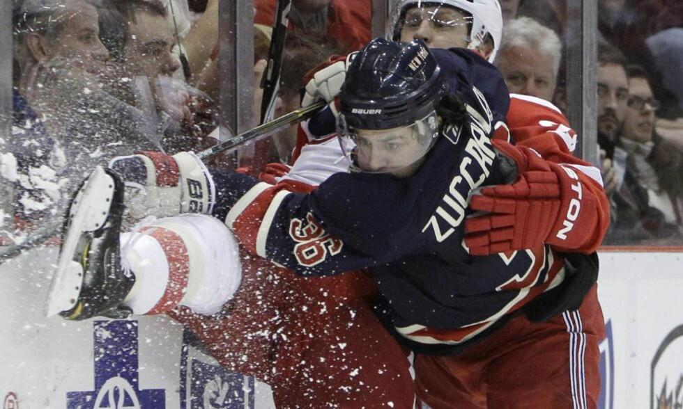 POENGLØS: Mats Zuccarello Aasen hadde tre skuddforsøk, men ingen mål eller målgivende i nattas 2-3-tap mot Detroit Red Wings. Foto:  (AP Photo/Carlos Osorio)