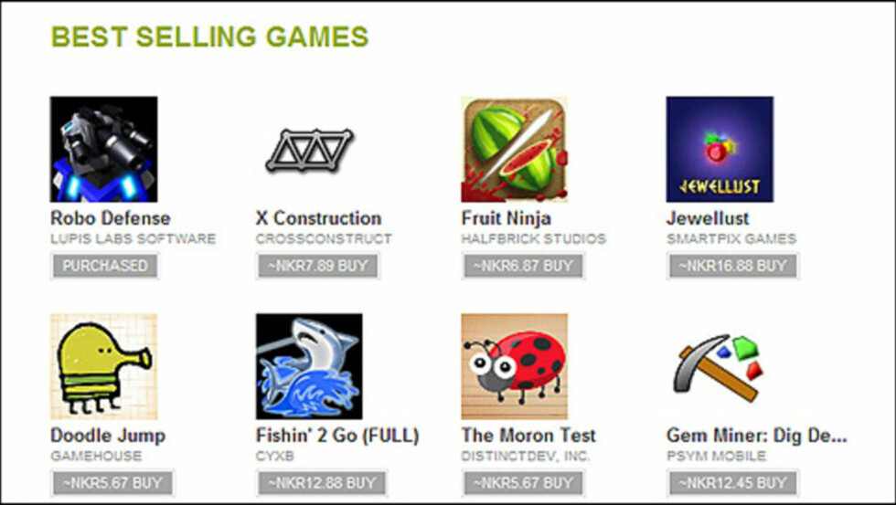 RYDDIG: Det er svært enkelt å finne frem i den nye nettleserversjonen av Android Market. Foto: Mobili.no