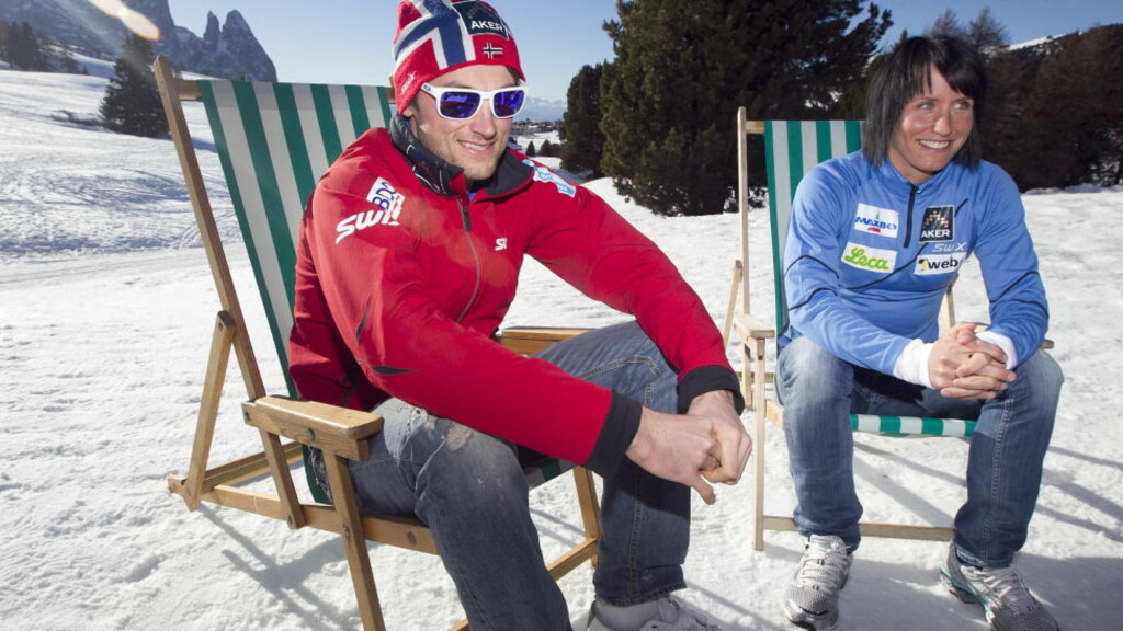 GREIT FOR MEG: Petter Northug, her sammen med Marit Bjørgen, sier at han ikke hadde hatt noe imot det dersom kjæresten Rachel Nordtømme hadde vært TV-reporter under VM i Oslo. Foto: Heiko Junge / Scanpix