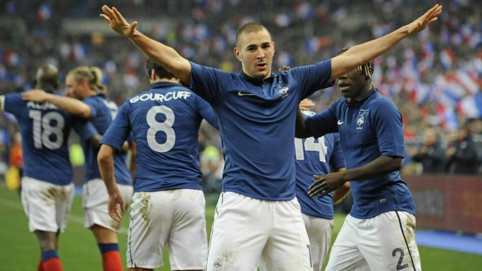 MATCHVINNER: Karim Benzema scoret kampens eneste mål mot Brasil. Foto: EPA