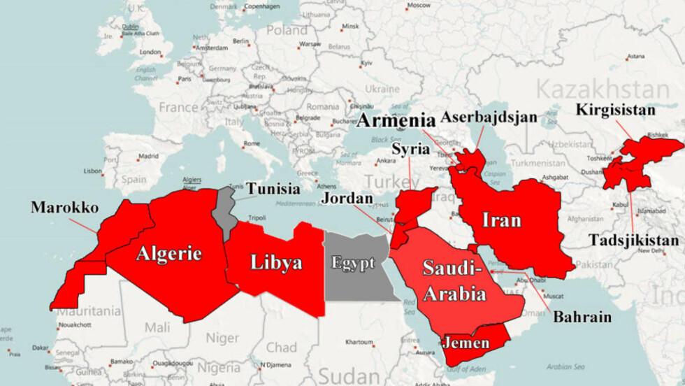 NESTE?: Disse landene (i rødt) kan bli berørt av protestbølgen som startet i Tunisia og Egypt (i grått). Grafikk: Dagbladet/Bing