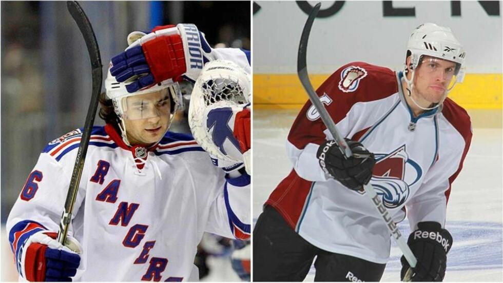 TAP: Både Mats Zuccarello Aasen (t.v.) og Jonas Holøs måtte gå tapende av isen er nattens NHL-kamper.Foto: SCANPIX