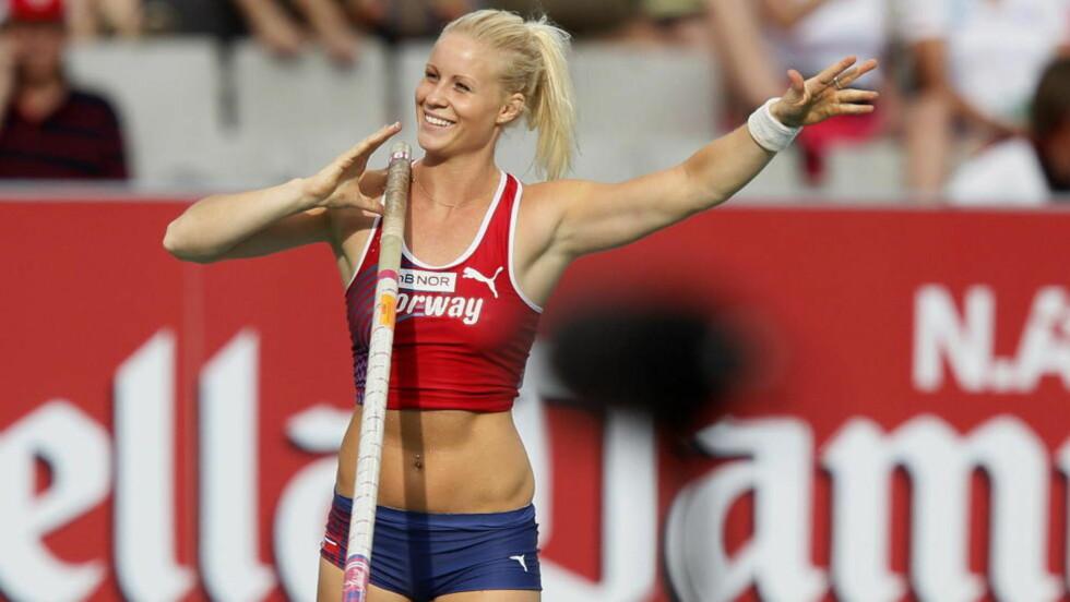 REKORDSPRANG: Cathrine Larsåsen satte ny norsk innendørsrekord i dag. Her i aksjon under finalen i EM i Barcelona i fjor. Foto: Cornelius Poppe, Scanpix