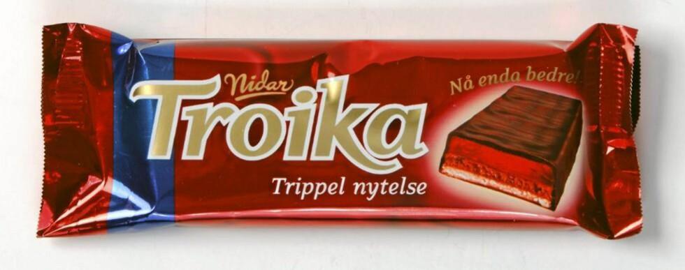 BEST I TEST: Troika er den sunneste, eller la oss heller si minst usunne, sjokoladen i testen. Foto: Bjørn Inge Karlsen, HM Foto