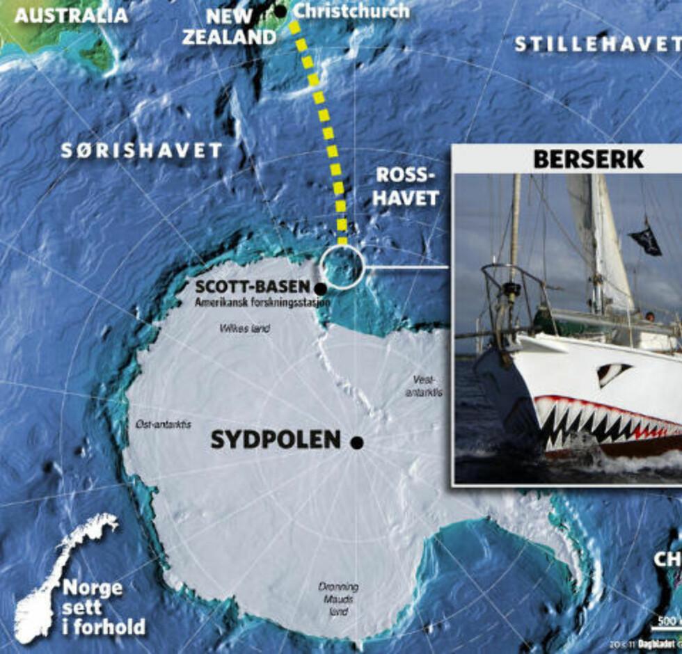 REISERUTA: Berserk seilte ned til Sydpolen og satt i land