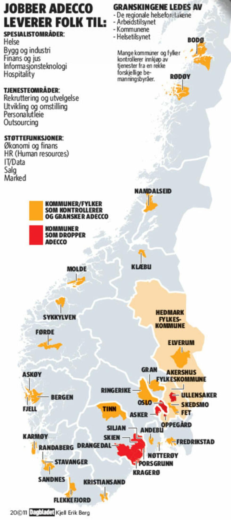 KONTROLLER: En rekke kommuner og fylker landet rundt kontrollerer kontrakter og arbeidsvilkår for sine inneleide ansatte fra bemanningsbyråer. Grafikk: Kjell Erik Berg/Dagbladet