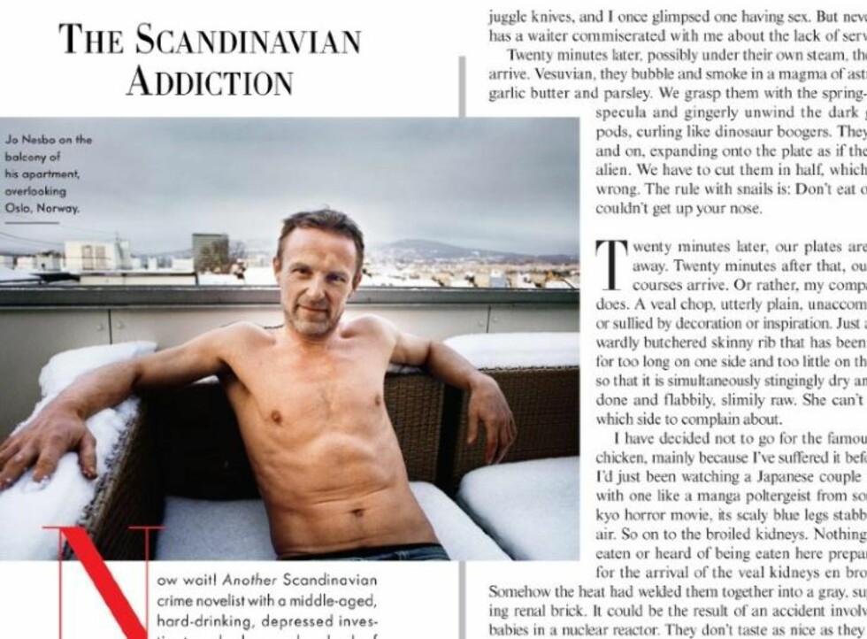 <strong>I BARINGS:</strong> Jo Nesbø stiller opp i en litt uvanlig positur til ære for det amerikanske magasinet Vanity Fair. Faksimile: VANITY FAIR PÅ IPAD
