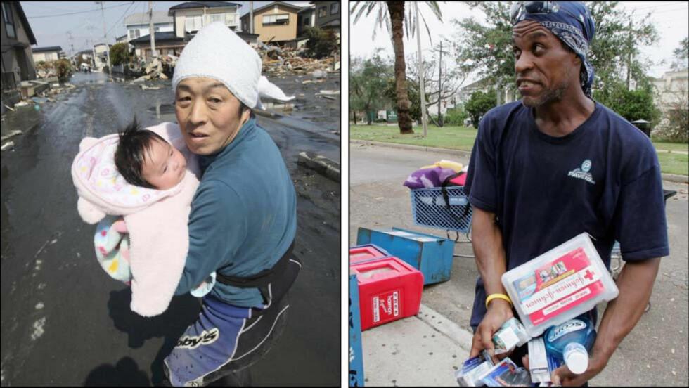 KONTRASTER: Til høyre har en amerikansk mann sikret seg forsyninger under flommen i New Orleans ved å plyndre et supermarked. I Japan meldes det at eiere av butikker reduserer prisene, eiere av automater som selger mat og vann gir bort varene sine og det er ikke rapportert om noe plyndring. Foto: AP Photo/The Yomiuri Shimbun, Hiroto Sekiguchi/Scanpix og AP Photo/Dave Martin/Scanpix