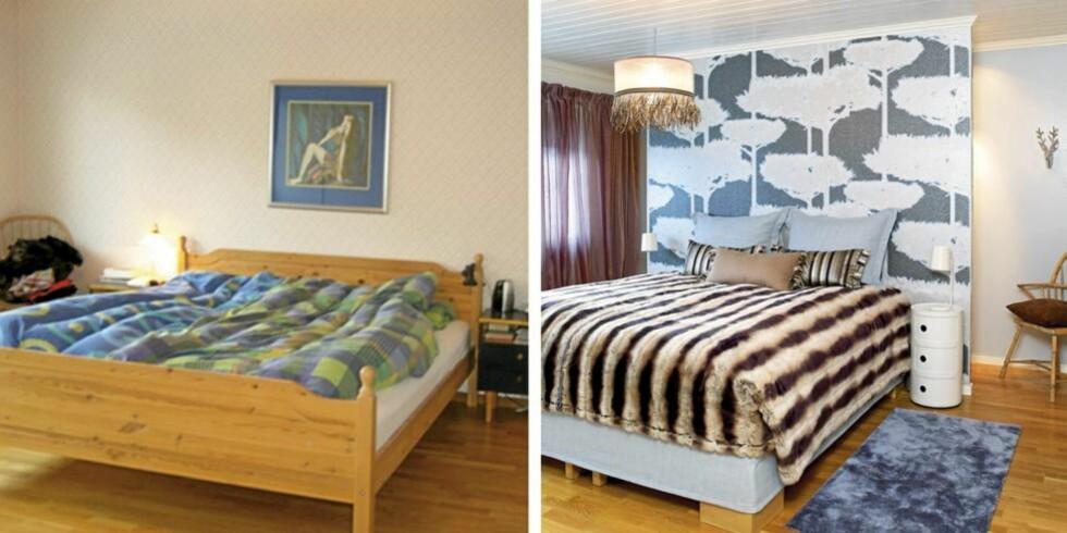 FØR OG ETTER: Det 27 kvm store soverommet var konvensjonelt innredet med seng mot den ene kortveggen og skap mot den andre. Resultatet var et uspennende rom med utilstrekkelig oppbevaringsplass. Foto. Espen Grønli