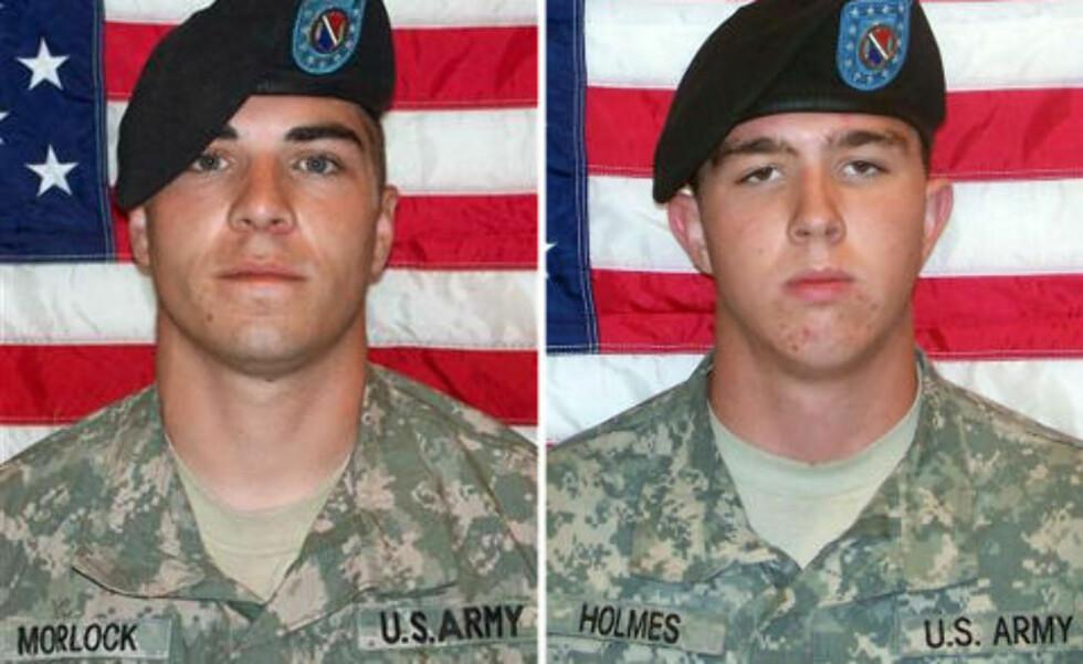SIKTET: Jeremy Morlock og Andrew Holmes er blant soldatene som skal ha deltatt i å drepe sivile afghanere. Foto: U.S. ARMY / AFP / SCANPIX