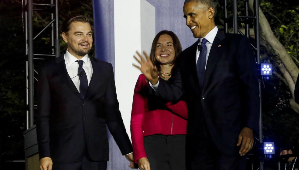 KLIMA: USAs president Barack Obama og skuespiller Leonardo DiCaprio slo et slag for klimaet under et arrangement utenfor Det hvite hus. Foto: Yuri Gripas / Reuters / NTB scanpix.