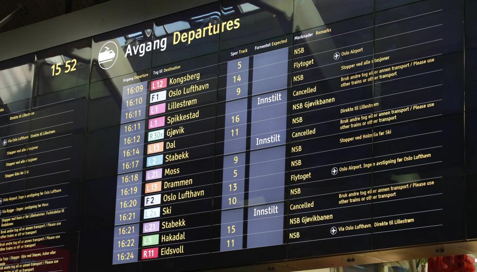 OPPTRAPPING AV LOKFØRERSTREIKEN: Alle lokaltog på Østfoldbanen blir innstilt fra lørdag. Illustrasjonsfoto: Terje Bendiksby, NTB Scanpix.