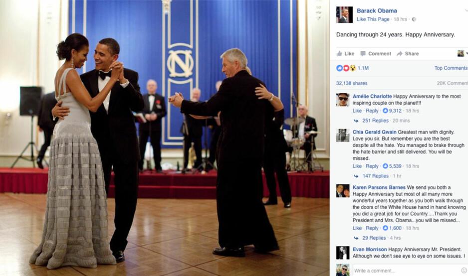 BRYLLUPSDANS PÅ FACEBOOK: En skjermdump fra president Barack Obamans Facebook-side der han danser med sin kone Michelle, mens Thorbjørn Jagland danser ved siden av. De to parene var de første på dansegulvet etter nobelmiddagen på Grand Hotel i Oslo i 2009, etter at Obama var tildelt Nobels Fredspris. Foto: Ukjent fotograf / fra president Obamas Facebookside. / NTB scanpix
