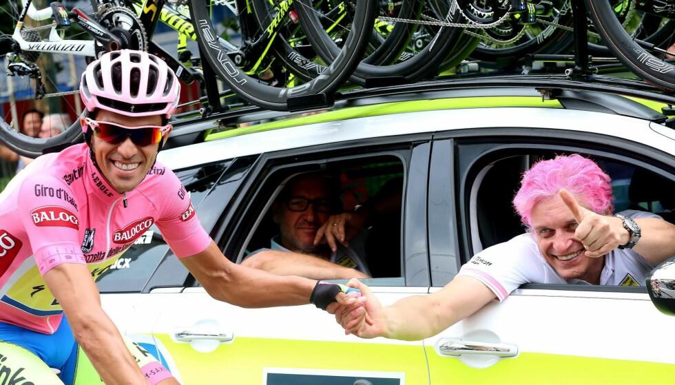 DÅRLIG STEMNING: I et intervju med Cyclingnews forteller Oleg Tinkov om et turbulent forhold til Alberto Contador. Det kulminerte da den spanske veteranen droppet Il Lombardia forrige helg. Foto: NTB Scanpix/EPA/CLAUDIO PERI