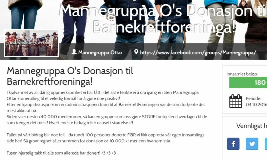 INNSAMLING: Mannegruppa Ottar har samlet inn 180 000 kroner til Barnekreftforeningen. Men nå setter foreningen en stopper for aksjonen.