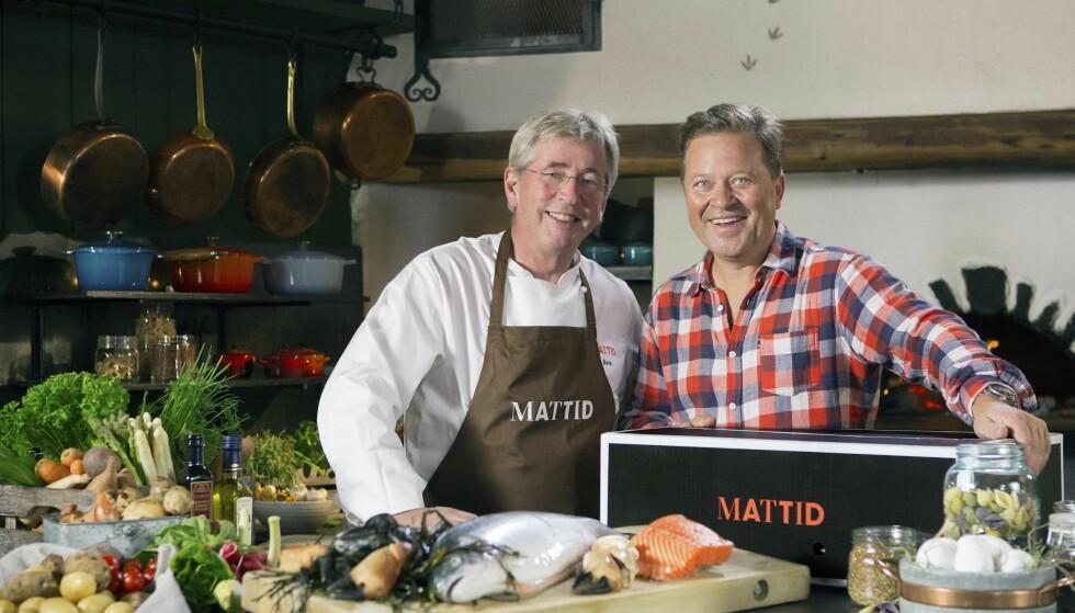 MIDDAGSABONNEMENT: Arne Brimi og Arne Hjeltnes lanserte middagskassen Mattid i dag. Foto: Mattid