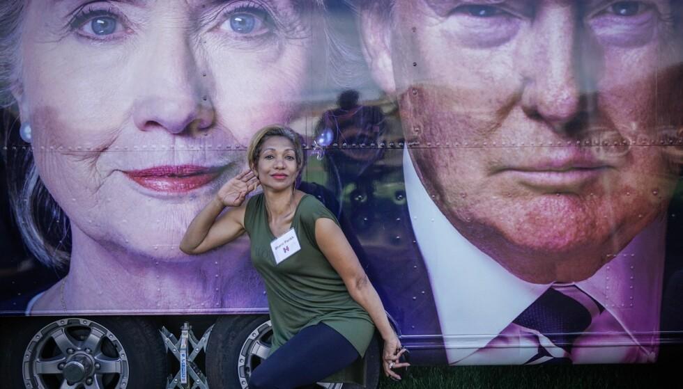 CLINTON-TILHENGER: Shanti Parikh gjorde tydelig tegn til hvem av presidentkandidatene hun hører på. Foto: Øistein Norum Monsen / Dagbladet.