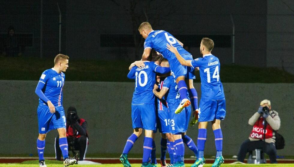 ISLAND: Island har skumle planer også i kvalifiseringen til 2018-VM. Søndag ble Tyrkia satt på plass med 2-0.  Foto:EPA/BIRGIR THOR HARDARSON/NTB Scanpix