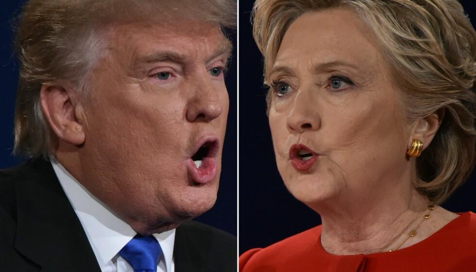 MOTPOLER: Donald Trump og Hillary Clinton har vært svært kritiske til hverandre denne valgkampen. FOTO: AFP PHOTO / Paul J. Richards/NTB Scanpix