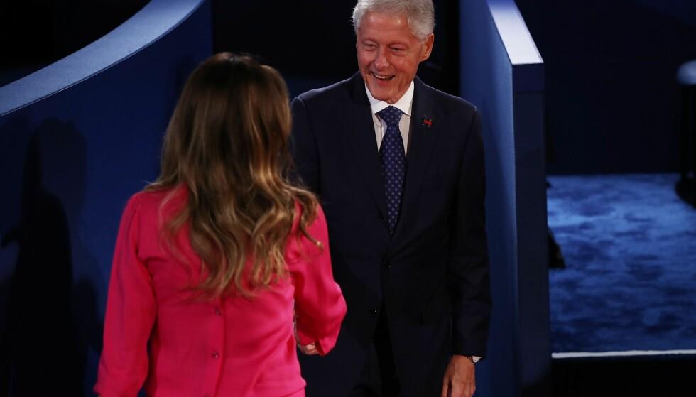 HILSET: Melania Trump og Bill Clinton. Foto: Win McNamee/Getty Images/AFP/NTB scanpix